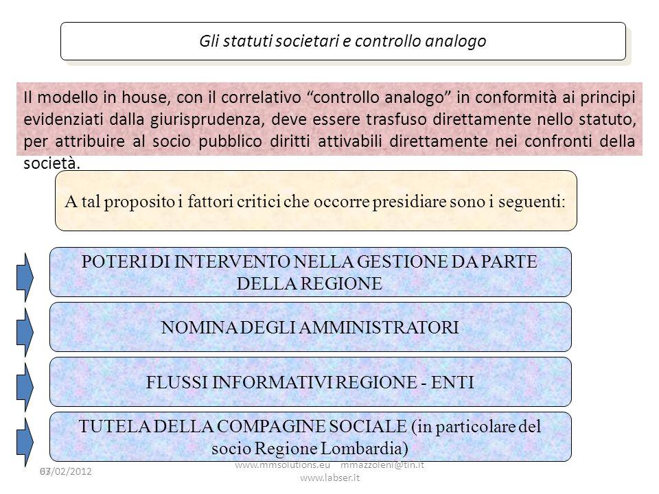 63 Gli statuti societari e controllo analogo Il modello in house, con il correlativo controllo analogo in conformità ai principi evidenziati dalla giu