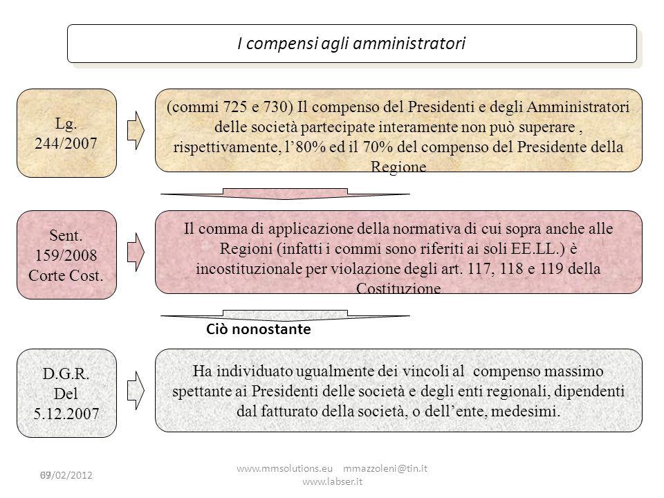 69 I compensi agli amministratori Lg. 244/2007 (commi 725 e 730) Il compenso del Presidenti e degli Amministratori delle società partecipate interamen