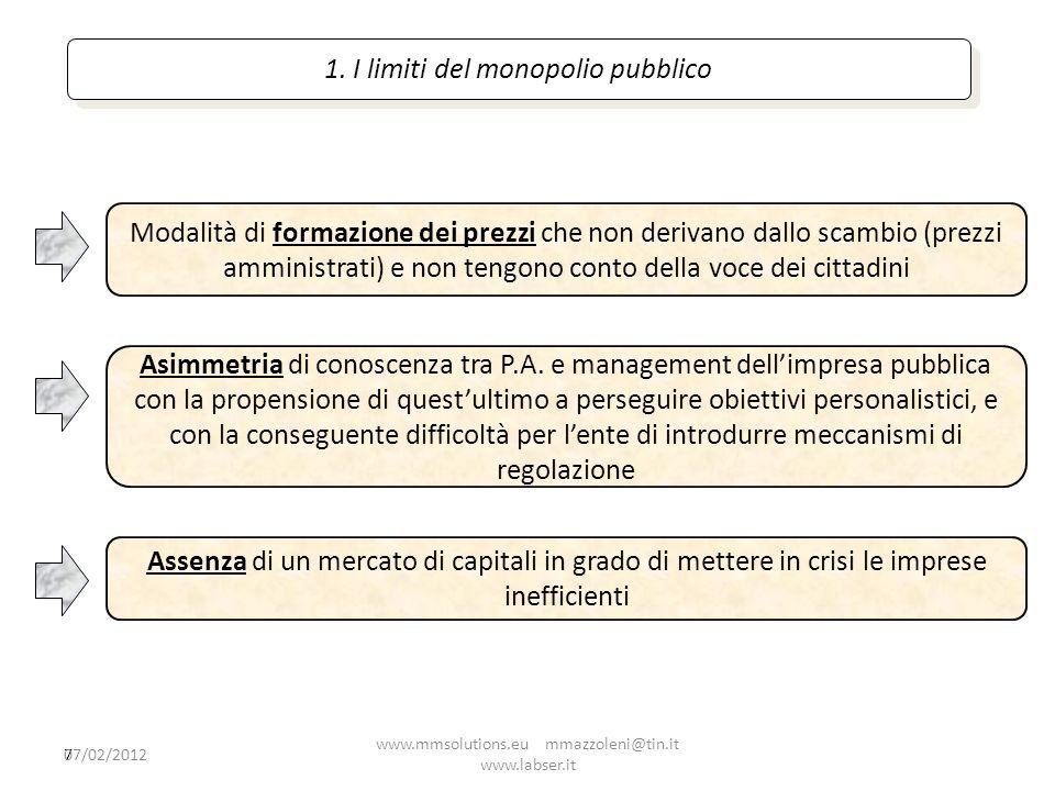 7 1. I limiti del monopolio pubblico Modalità di formazione dei prezzi che non derivano dallo scambio (prezzi amministrati) e non tengono conto della
