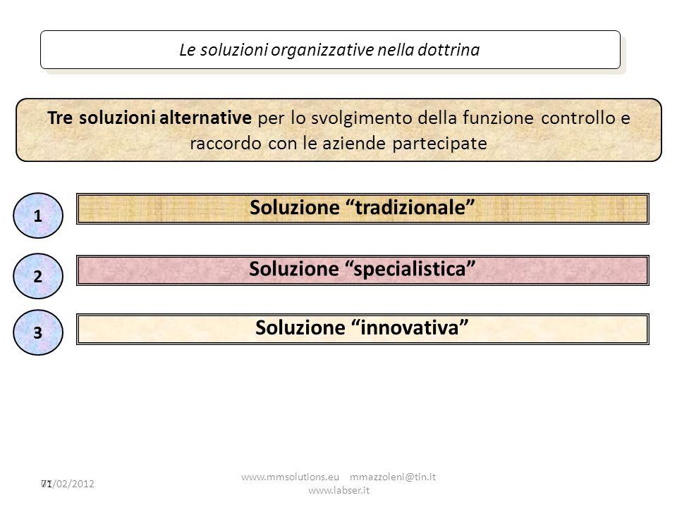 71 Le soluzioni organizzative nella dottrina Soluzione tradizionale Tre soluzioni alternative per lo svolgimento della funzione controllo e raccordo c