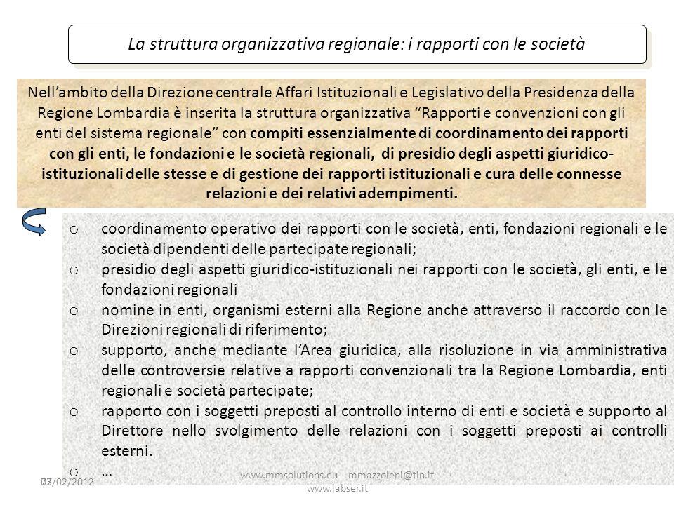 73 La struttura organizzativa regionale: i rapporti con le società Nellambito della Direzione centrale Affari Istituzionali e Legislativo della Presid
