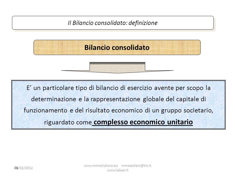 78 E un particolare tipo di bilancio di esercizio avente per scopo la determinazione e la rappresentazione globale del capitale di funzionamento e del