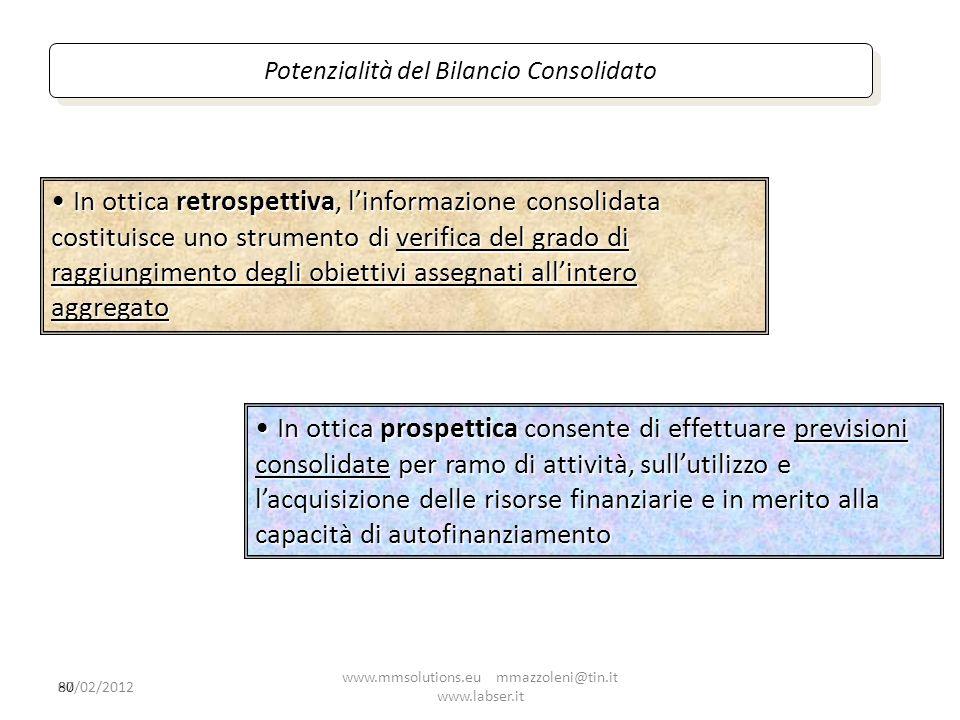 80 In ottica retrospettiva, linformazione consolidata costituisce uno strumento di verifica del grado di raggiungimento degli obiettivi assegnati alli