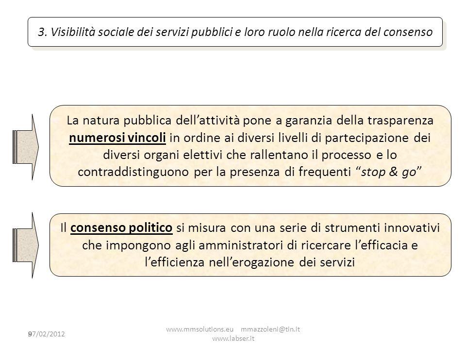 9 3. Visibilità sociale dei servizi pubblici e loro ruolo nella ricerca del consenso La natura pubblica dellattività pone a garanzia della trasparenza