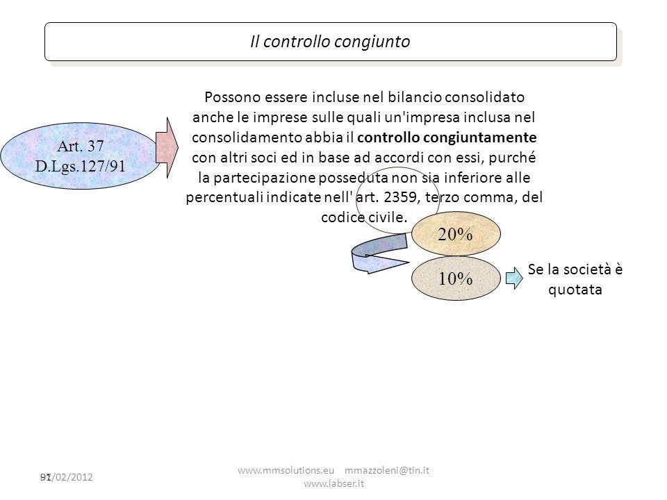91 Possono essere incluse nel bilancio consolidato anche le imprese sulle quali un'impresa inclusa nel consolidamento abbia il controllo congiuntament