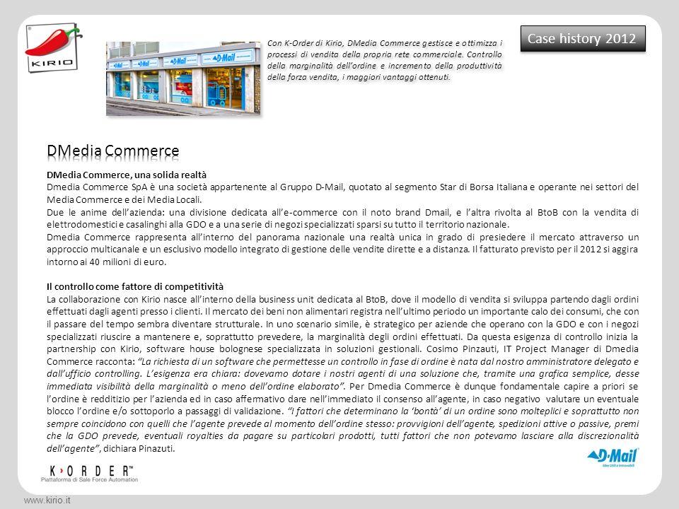 www.kirio.it Case history 2012 Con K-Order di Kirio, DMedia Commerce gestisce e ottimizza i processi di vendita della propria rete commerciale. Contro