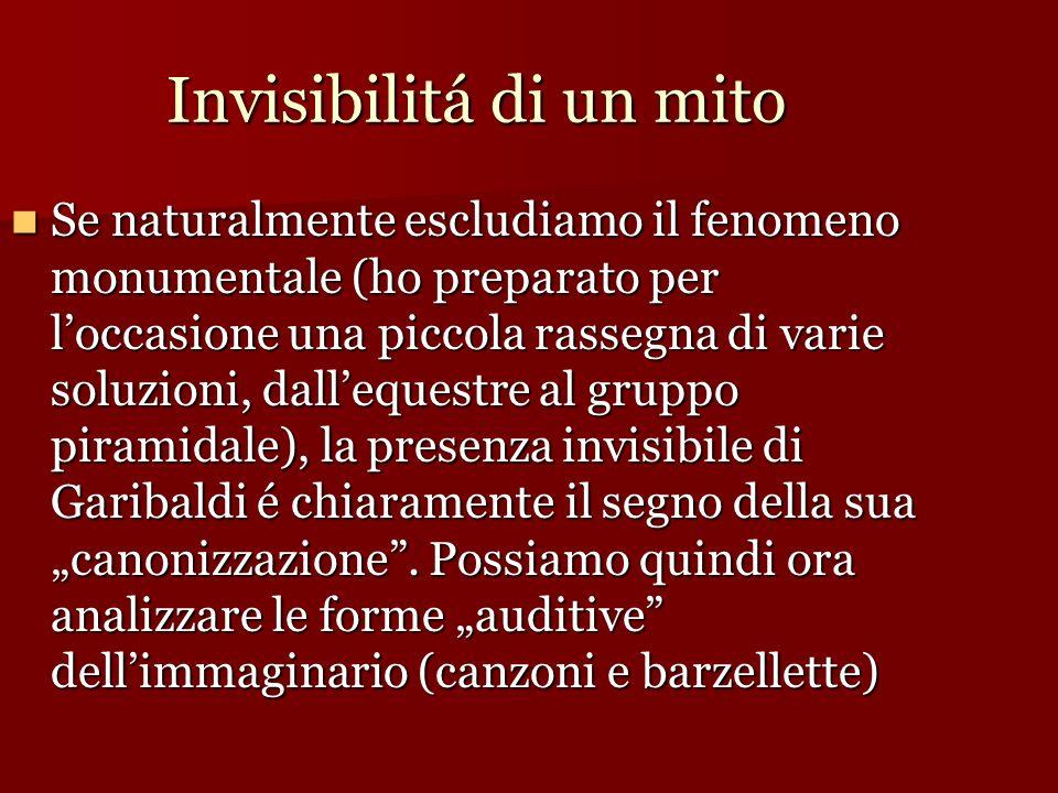 Invisibilitá di un mito Se naturalmente escludiamo il fenomeno monumentale (ho preparato per loccasione una piccola rassegna di varie soluzioni, dalle