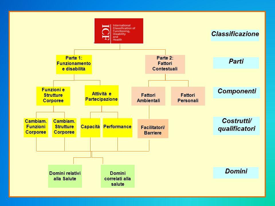 Interazione di Concetti ICF 2001 ) Condizioni di salute (disturbo / malattia) Fattori AmbientaliFattori Personali Funzioni e strutture corporee (Menomazione ) Attività ( Limitazione) Partecipazione (Restrizione)