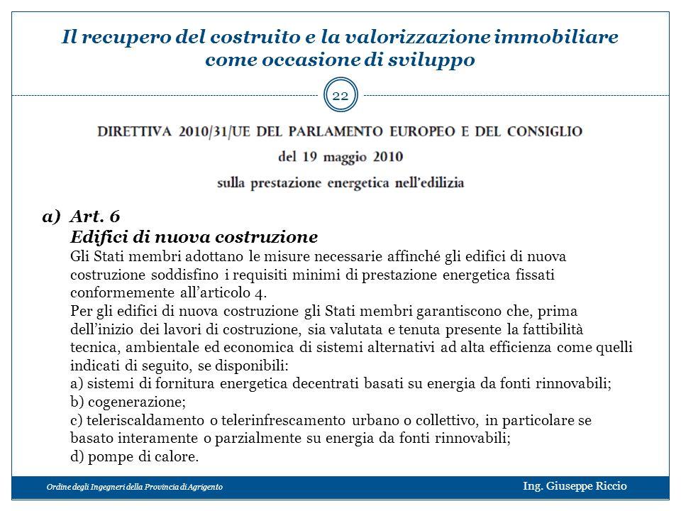 Ordine degli Ingegneri della Provincia di Agrigento Ing. Giuseppe Riccio a)Art. 6 Edifici di nuova costruzione Gli Stati membri adottano le misure nec