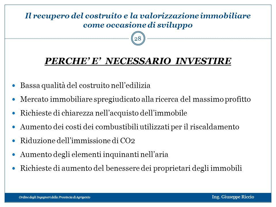 Ordine degli Ingegneri della Provincia di Agrigento Ing. Giuseppe Riccio PERCHE E NECESSARIO INVESTIRE Bassa qualità del costruito nelledilizia Mercat