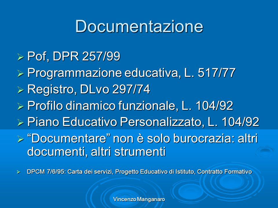 Vincenzo Manganaro Documentazione Pof, DPR 257/99 Pof, DPR 257/99 Programmazione educativa, L.