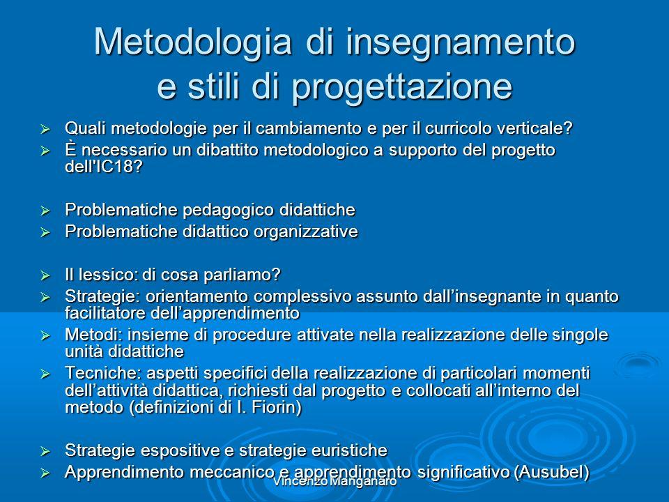 Vincenzo Manganaro Metodologia di insegnamento e stili di progettazione Quali metodologie per il cambiamento e per il curricolo verticale.