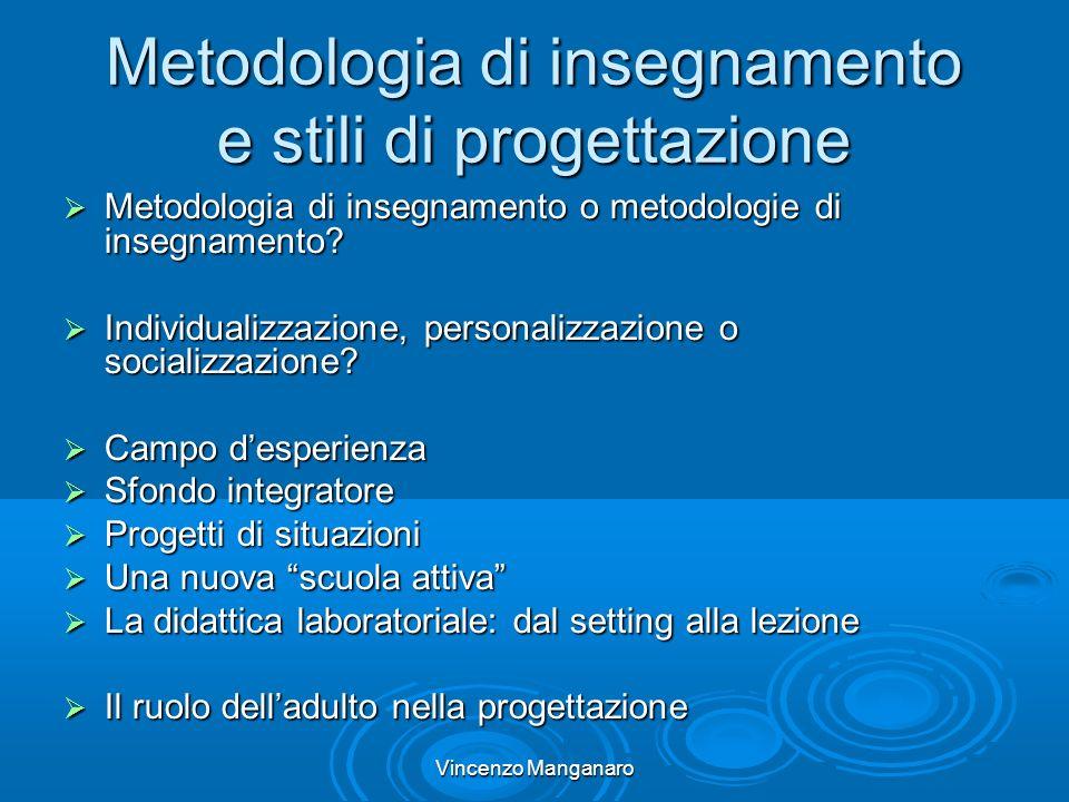 Vincenzo Manganaro Metodologia di insegnamento e stili di progettazione Metodologia di insegnamento o metodologie di insegnamento.