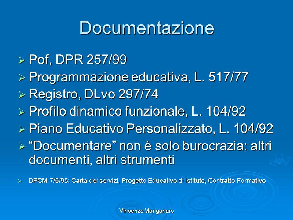 Vincenzo Manganaro Documentazione Pof, DPR 257/99 Pof, DPR 257/99 Programmazione educativa, L. 517/77 Programmazione educativa, L. 517/77 Registro, DL