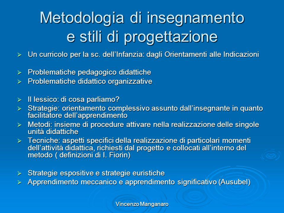 Vincenzo Manganaro Metodologia di insegnamento e stili di progettazione Un curricolo per la sc. dellInfanzia: dagli Orientamenti alle Indicazioni Un c