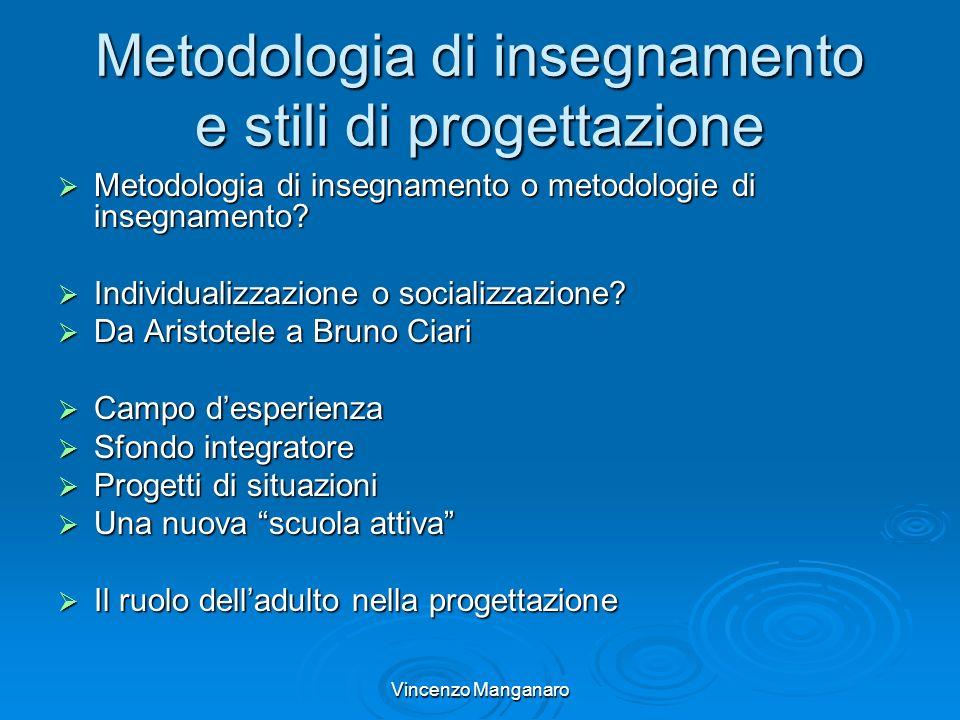 Vincenzo Manganaro Metodologia di insegnamento e stili di progettazione Metodologia di insegnamento o metodologie di insegnamento? Metodologia di inse