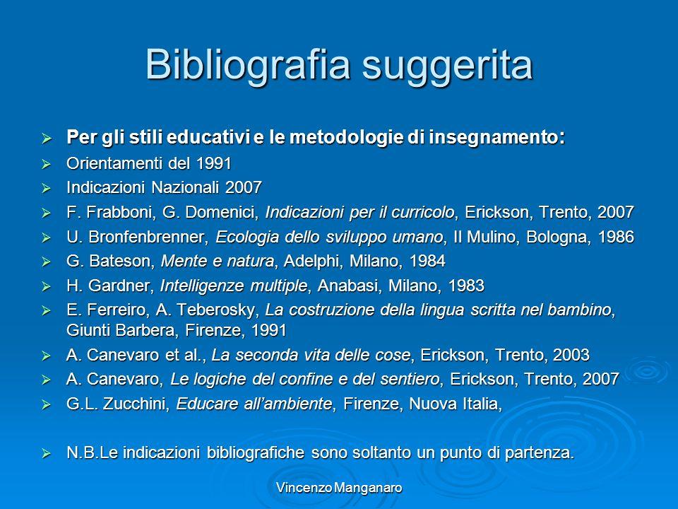 Vincenzo Manganaro Bibliografia suggerita Per gli stili educativi e le metodologie di insegnamento : Per gli stili educativi e le metodologie di inseg