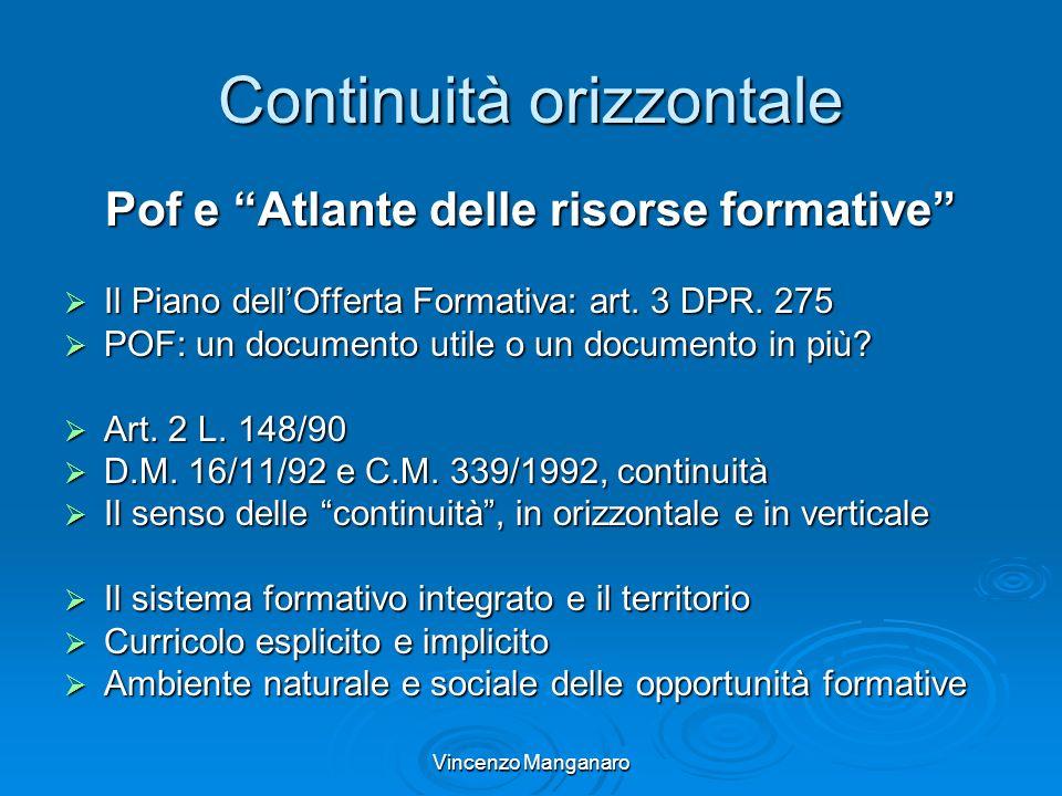 Vincenzo Manganaro Continuità orizzontale Pof e Atlante delle risorse formative Il Piano dellOfferta Formativa: art. 3 DPR. 275 Il Piano dellOfferta F