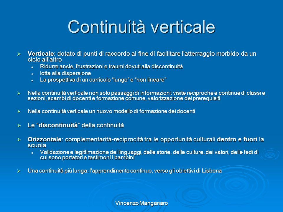 Vincenzo Manganaro Continuità verticale Verticale: dotato di punti di raccordo al fine di facilitare l'atterraggio morbido da un ciclo all'altro Verti