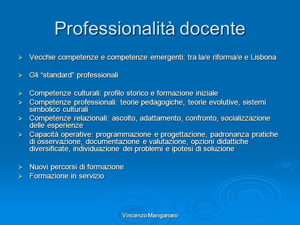 Vincenzo Manganaro Professionalità docente Vecchie competenze e competenze emergenti: tra la/e riforma/e e Lisbona Vecchie competenze e competenze eme