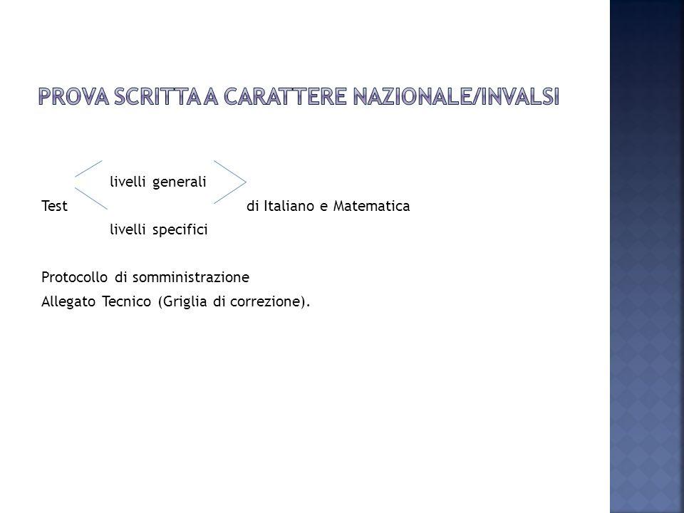 livelli generali Testdi Italiano e Matematica livelli specifici Protocollo di somministrazione Allegato Tecnico (Griglia di correzione).
