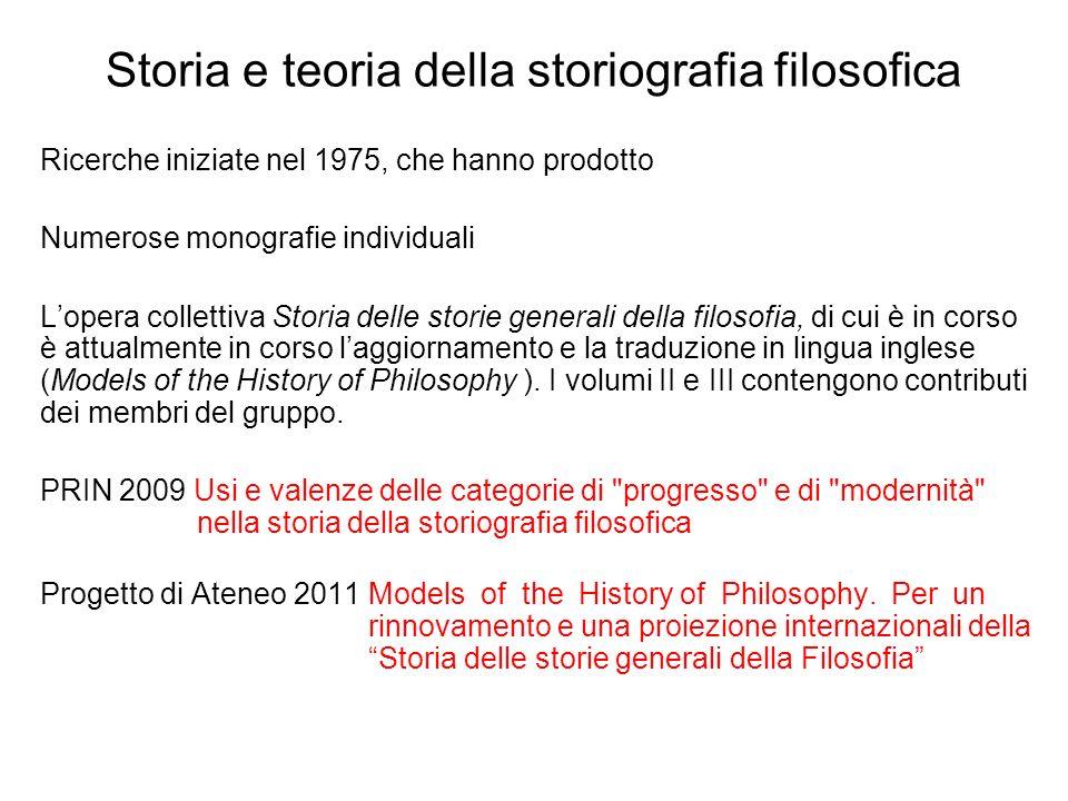 Storia e teoria della storiografia filosofica Ricerche iniziate nel 1975, che hanno prodotto Numerose monografie individuali Lopera collettiva Storia