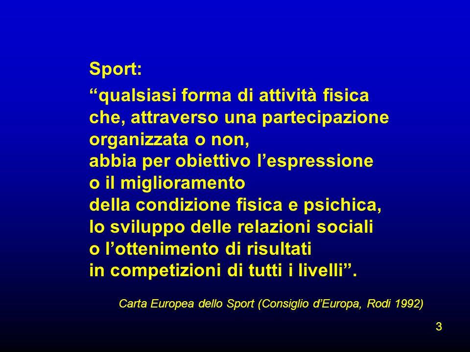 Carta Europea dello Sport (Consiglio dEuropa, Rodi 1992) Sport: qualsiasi forma di attività fisica che, attraverso una partecipazione organizzata o no
