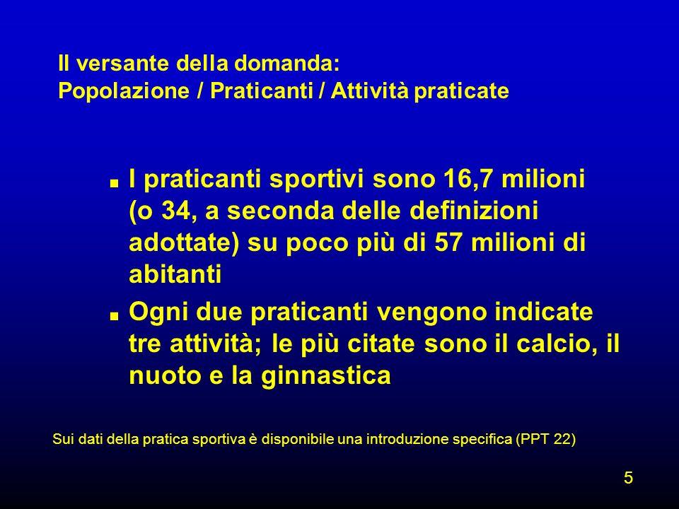 Sui dati della pratica sportiva è disponibile una introduzione specifica (PPT 22). I praticanti sportivi sono 16,7 milioni (o 34, a seconda delle defi