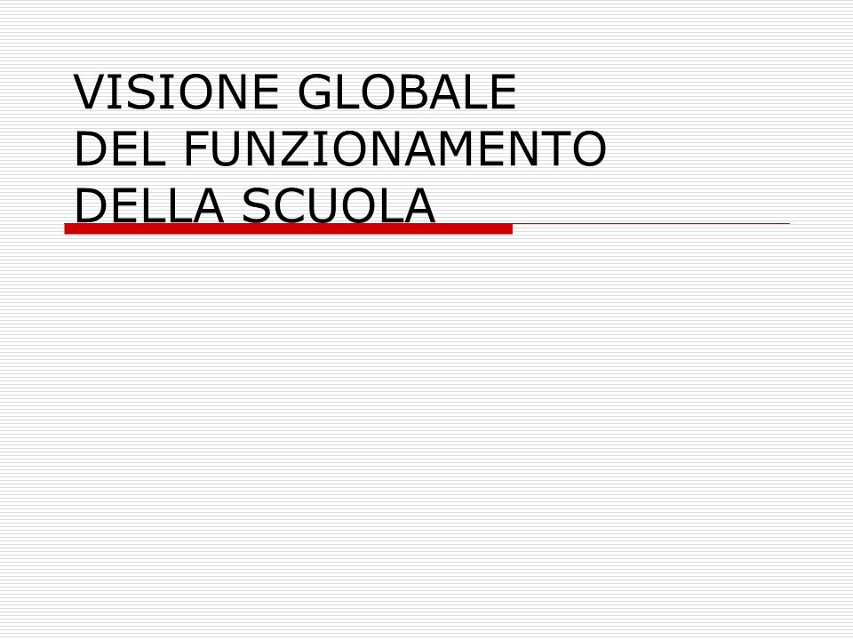 VISIONE GLOBALE DEL FUNZIONAMENTO DELLA SCUOLA