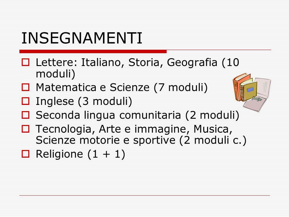 INSEGNAMENTI Lettere: Italiano, Storia, Geografia (10 moduli) Matematica e Scienze (7 moduli) Inglese (3 moduli) Seconda lingua comunitaria (2 moduli)