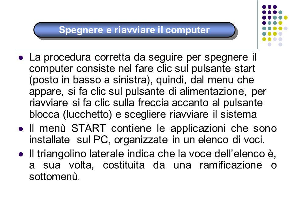 Spegnere e riavviare il computer La procedura corretta da seguire per spegnere il computer consiste nel fare clic sul pulsante start (posto in basso a