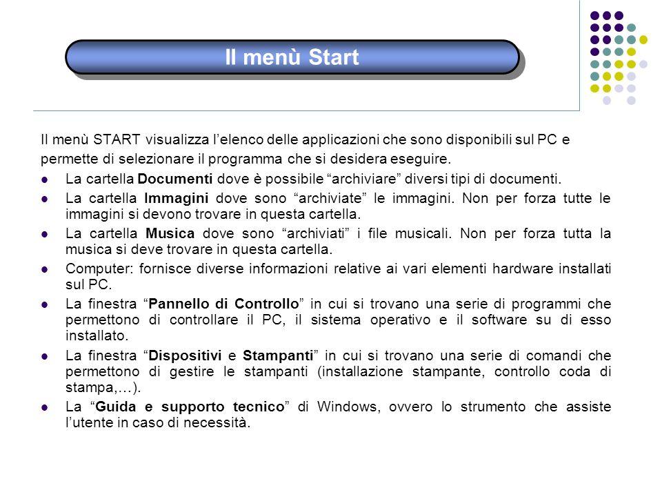 Il menù Start Il menù START visualizza lelenco delle applicazioni che sono disponibili sul PC e permette di selezionare il programma che si desidera e