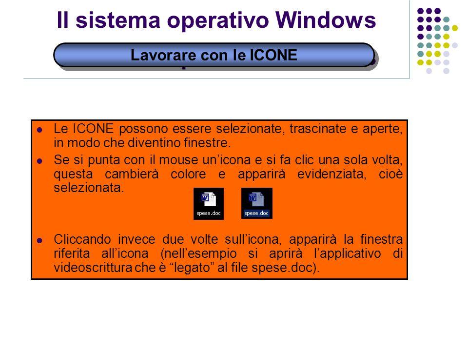 Il sistema operativo Windows Lavorare con le ICONE Le ICONE possono essere selezionate, trascinate e aperte, in modo che diventino finestre. Se si pun