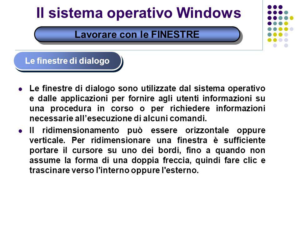 Lavorare con le FINESTRE Il sistema operativo Windows Le finestre di dialogo Le finestre di dialogo sono utilizzate dal sistema operativo e dalle appl