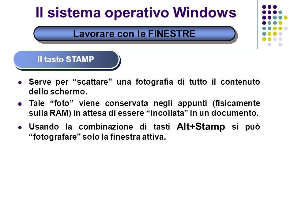Lavorare con le FINESTRE Il sistema operativo Windows Il tasto STAMP Serve per scattare una fotografia di tutto il contenuto dello schermo. Tale foto