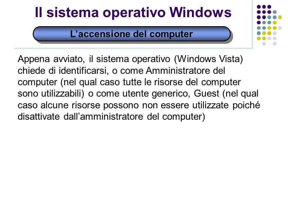 Laccensione del computer Il sistema operativo Windows Appena avviato, il sistema operativo (Windows Vista) chiede di identificarsi, o come Amministrat