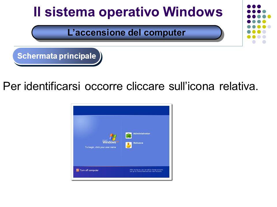 Laccensione del computer Schermata principale Il sistema operativo Windows Per identificarsi occorre cliccare sullicona relativa.