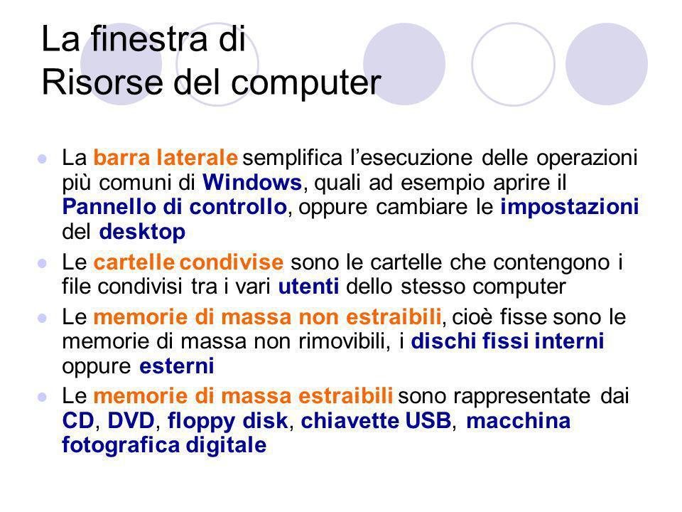 La finestra di Risorse del computer La barra laterale semplifica lesecuzione delle operazioni più comuni di Windows, quali ad esempio aprire il Pannello di controllo, oppure cambiare le impostazioni del desktop Le cartelle condivise sono le cartelle che contengono i file condivisi tra i vari utenti dello stesso computer Le memorie di massa non estraibili, cioè fisse sono le memorie di massa non rimovibili, i dischi fissi interni oppure esterni Le memorie di massa estraibili sono rappresentate dai CD, DVD, floppy disk, chiavette USB, macchina fotografica digitale