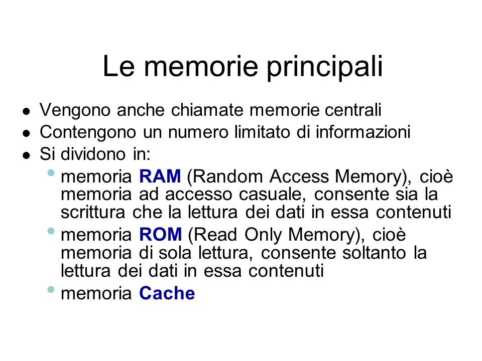 Le memorie: la capacità Le memorie possiedono una capacità che si esprime in Byte Scala di equivalenza: 1 Byte equivale a 8 bit; 1 chilo Byte (1 KByte