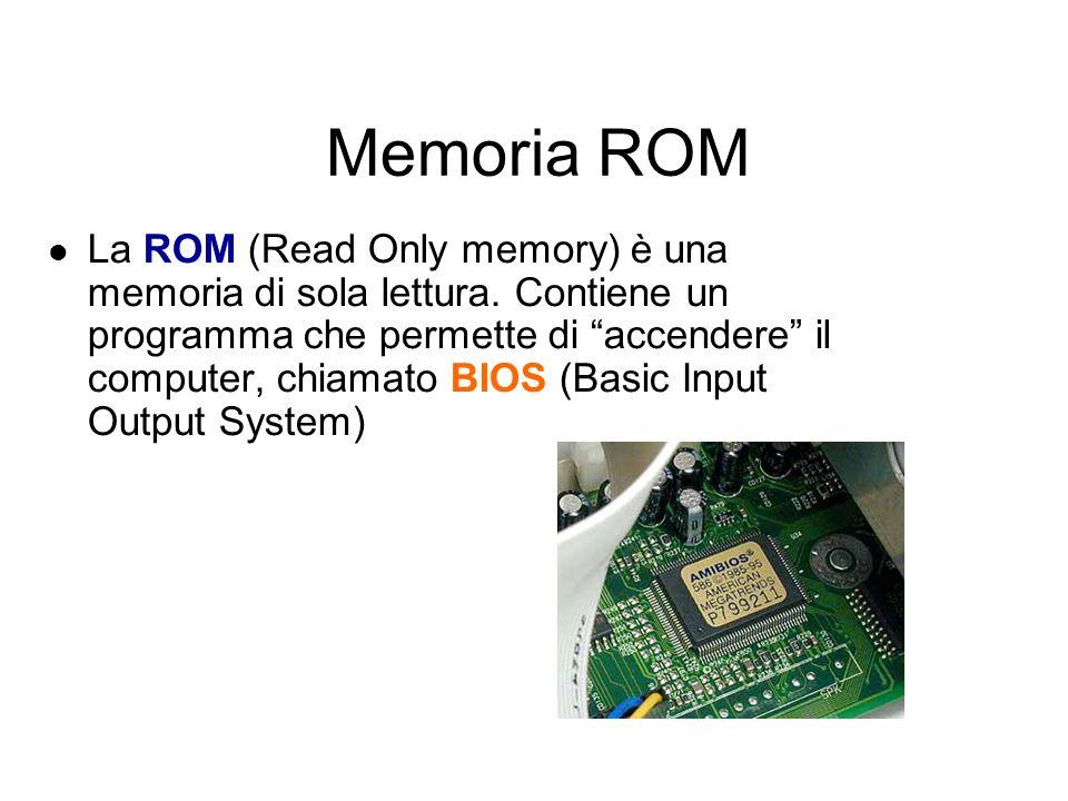 Memoria RAM La RAM (Random Access Memory) è la memoria che contiene i dati e i programmi in corso di esecuzione E di tipo volatile, significa che perd