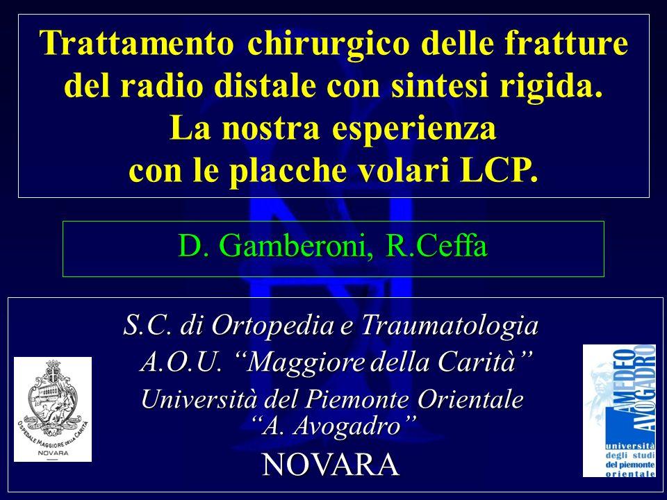 Trattamento chirurgico delle fratture del radio distale con sintesi rigida. La nostra esperienza con le placche volari LCP. D. Gamberoni, R.Ceffa S.C.