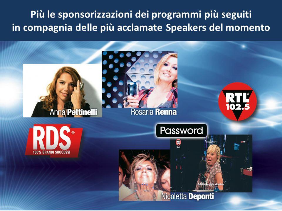 Più le sponsorizzazioni dei programmi più seguiti in compagnia delle più acclamate Speakers del momento