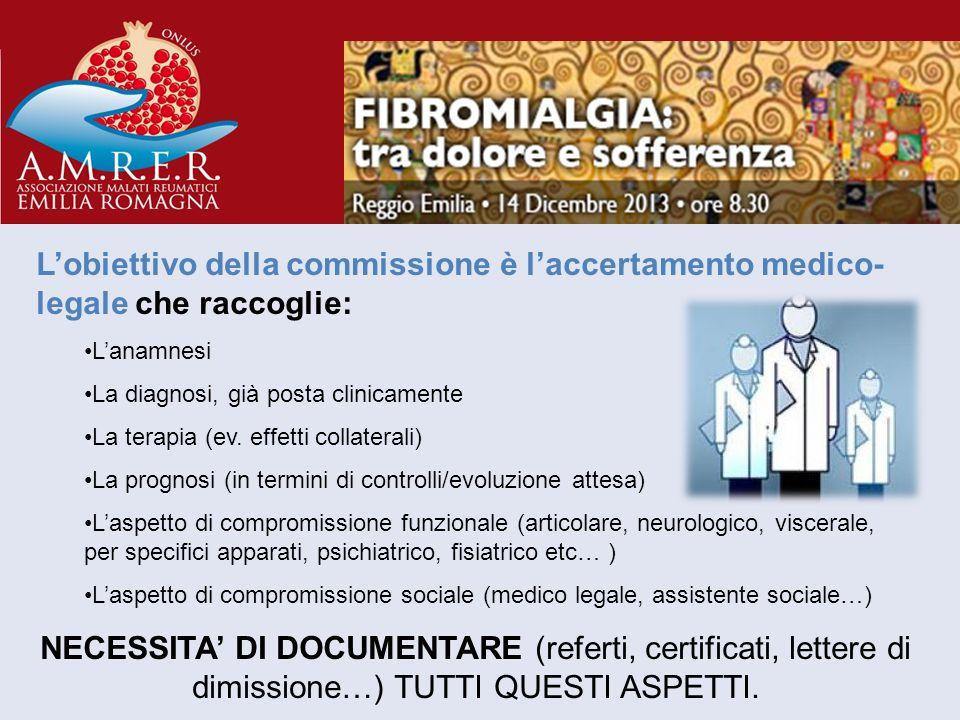 Lobiettivo della commissione è laccertamento medico- legale che raccoglie: Lanamnesi La diagnosi, già posta clinicamente La terapia (ev. effetti colla