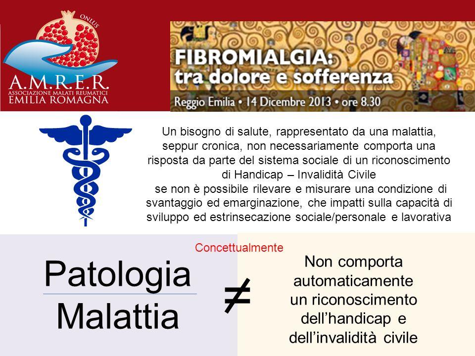 Patologia Malattia = Non comporta automaticamente un riconoscimento dellhandicap e dellinvalidità civile Concettualmente Un bisogno di salute, rappres