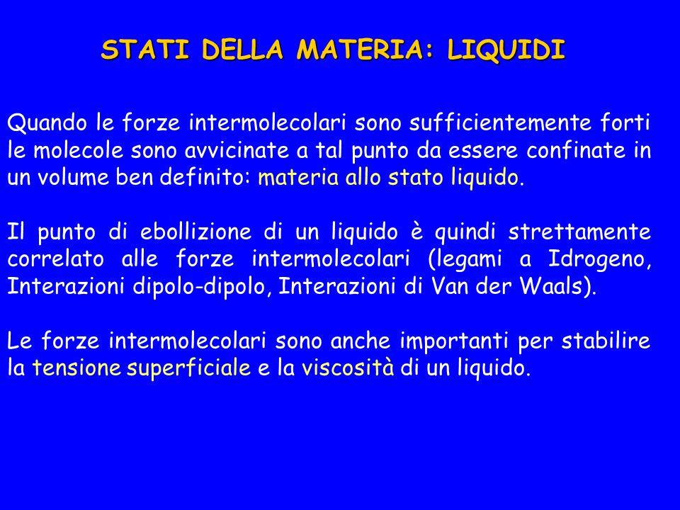 STATI DELLA MATERIA: LIQUIDI Quando le forze intermolecolari sono sufficientemente forti le molecole sono avvicinate a tal punto da essere confinate in un volume ben definito: materia allo stato liquido.