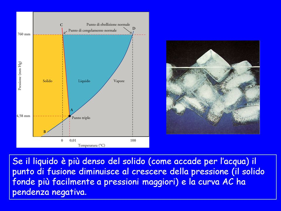 Se il liquido è più denso del solido (come accade per lacqua) il punto di fusione diminuisce al crescere della pressione (il solido fonde più facilmente a pressioni maggiori) e la curva AC ha pendenza negativa.
