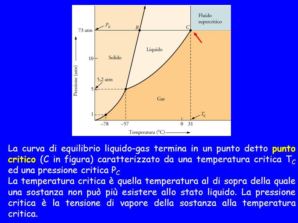 punto critico La curva di equilibrio liquido-gas termina in un punto detto punto critico (C in figura) caratterizzato da una temperatura critica T C ed una pressione critica P C La temperatura critica è quella temperatura al di sopra della quale una sostanza non può più esistere allo stato liquido.