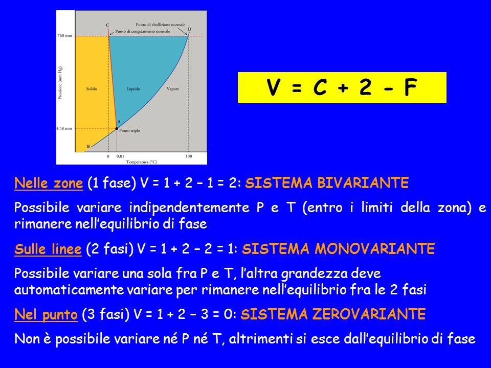 Sulle linee (2 fasi) V = 1 + 2 – 2 = 1: SISTEMA MONOVARIANTE Possibile variare una sola fra P e T, laltra grandezza deve automaticamente variare per rimanere nellequilibrio fra le 2 fasi Nelle zone (1 fase) V = 1 + 2 – 1 = 2: SISTEMA BIVARIANTE Possibile variare indipendentemente P e T (entro i limiti della zona) e rimanere nellequilibrio di fase Nel punto (3 fasi) V = 1 + 2 – 3 = 0: SISTEMA ZEROVARIANTE Non è possibile variare né P né T, altrimenti si esce dallequilibrio di fase V = C + 2 - F