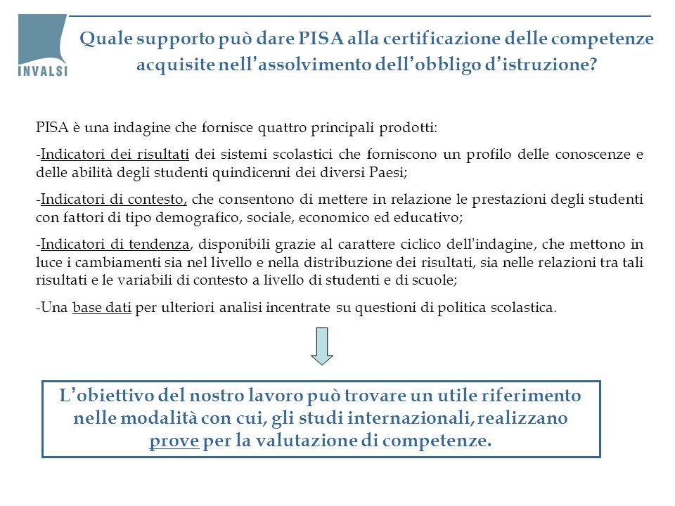 Quale supporto può dare PISA alla certificazione delle competenze acquisite nell assolvimento dell obbligo d istruzione? PISA è una indagine che forni
