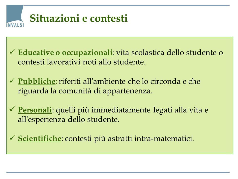 Educative o occupazionali : vita scolastica dello studente o contesti lavorativi noti allo studente. Pubbliche : riferiti allambiente che lo circonda